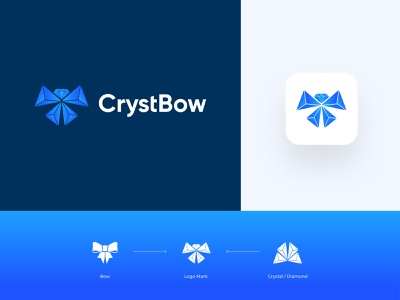 CrystBow - Logo design branding 💎+🎀 best logo royal logo jewelry diamond logo shop logo luxury logo gift shop bow crystal graphic design designer brand branding identity icon clever smart modern mark logomark brandmark logo logo design vector branding design