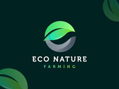 Eco Nature Farming - Green farming logo design branding 🍃+ ⓔ eco electric modern colorful best logo letter e logo leaf logo green farmer farming natural eco mark logomark brandmark logo logo design branding vector design