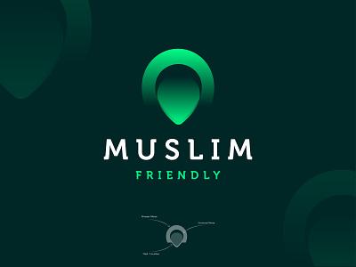 Muslim Friendly - Mobile app logo design branding🕌 masjid islamic logo mark logo designer new logo mosque minar moon app logo mobile app friendly muslim location illustration mark logomark brandmark logo logo design vector branding design
