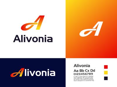 """Alivonia"" A letter technology company logo design"