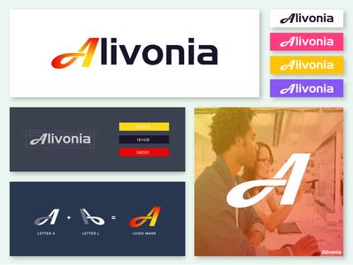 """Alivonia"" A letter technology company logo Branding"