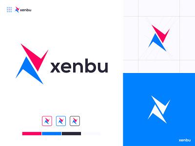 xenbu - Files Sharing App and Website Logo Design Branding blue pink x logo xender vector design logo share modern logo mark identity files file connection connect brand guide branding transfer app logo abstract sharing