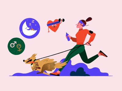 Pet Health Benefits exercise jogging health pets dog character wacom cintiq design illistration 2d vector illustrator