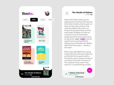 Books App white concept mobile ux app design app ui minimal flat design