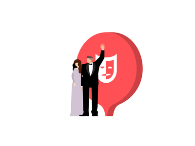 Theater event passengers visitors shape event place pin theater character flat illustration