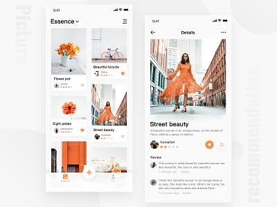 A Picture Recommendation App Interface app ux ui design