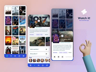 [Watch it!] watchlist app design application icons player play cast rating rate bookmark favorite tag app design grid pattern card movie app app logo gradient ui sketch