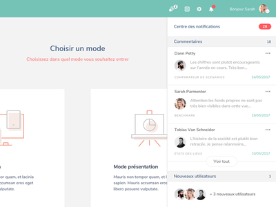 Notifications Center app webapp ui ux panel users comments popin notification sketch