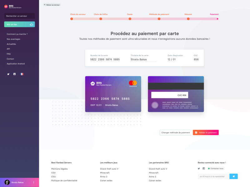 [BRS] Premium checkout process steps credit card timeline checkout payment card gradient app ui web sketch