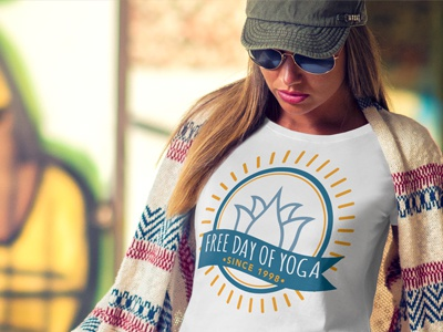 Free Day of Yoga typography illustration logo branding