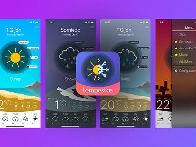 Tempestas App flat  design iphonex ios 11 weather app ui  ux app
