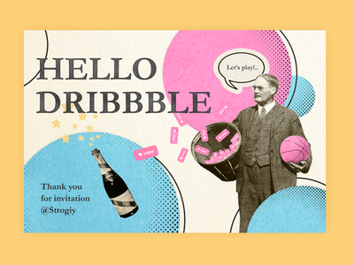 Hello Dribbble hellodribbble collageart collage retro illustration