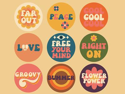 Right on, man! seventies sixties lettering vector illustration retro love vector illustration