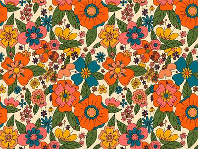 Flower Power seventies sixties flowers floral seamless pattern vector illustration retro love vector illustration