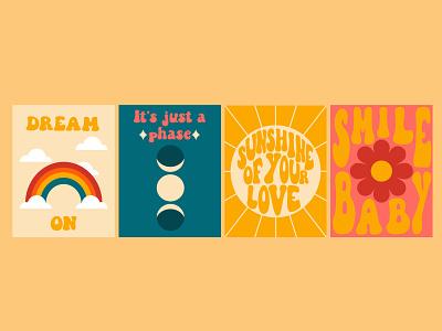 Retro style posters poster seventies sixties design vector illustration retro love vector illustration