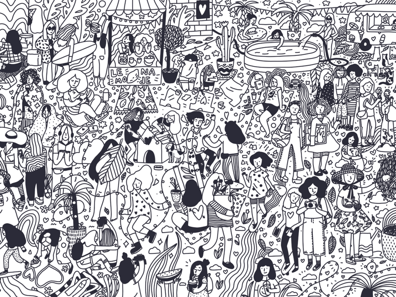 Summer market coloring book page illustration black and white line art coloring book