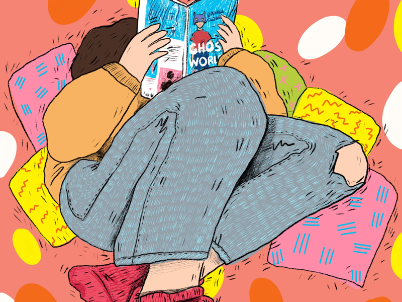 Ghost world reading girl illustration comics