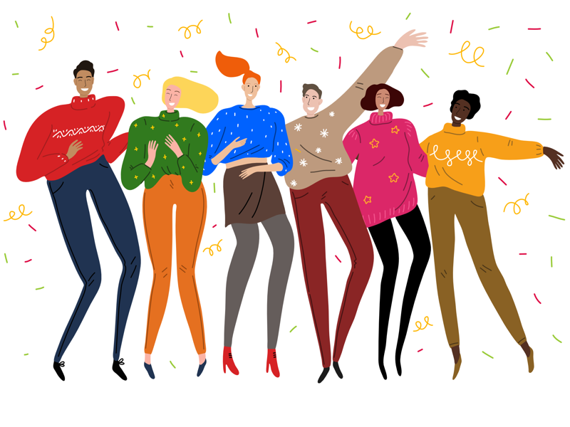 'tis the season! sweaters party new year christmas people art vector