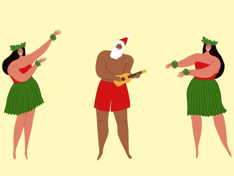 Mele Kalikimaka! illustration vector ukulele hawaiian hawaii hula dancers christmas