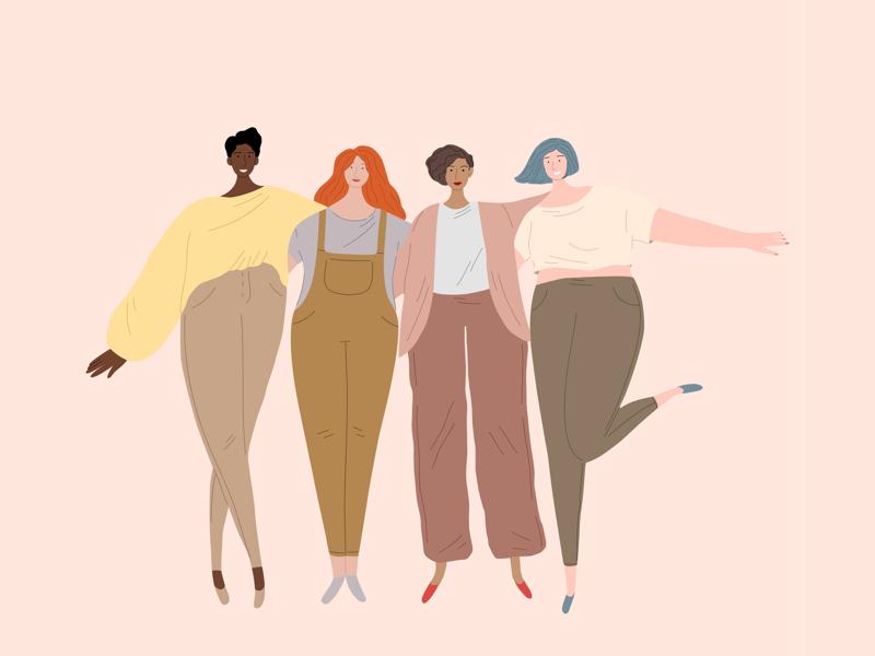 Girls🌸 vector illustration vector happy body positive feminism friendship women girls