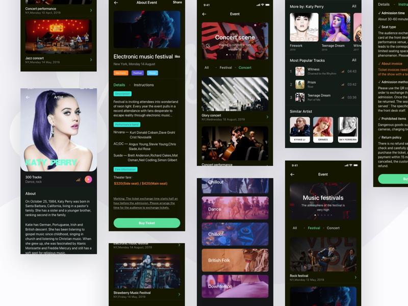 music app redesign event musical singer tracks