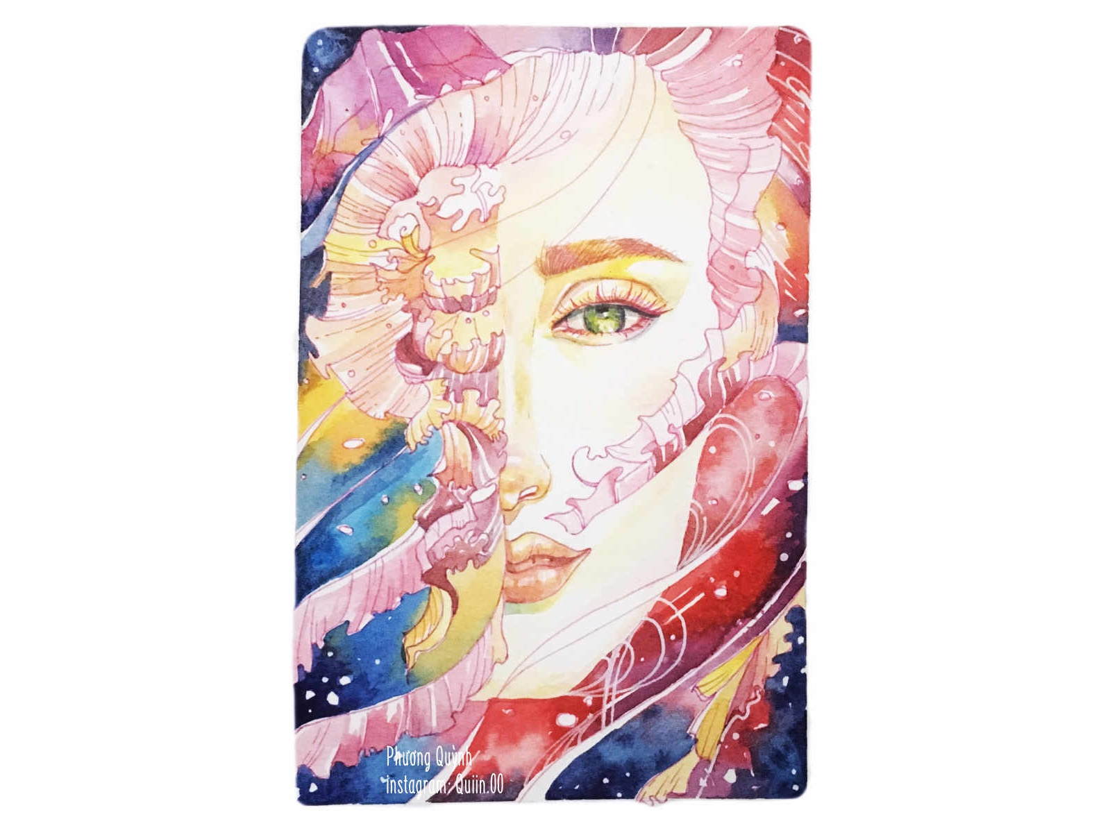 Girl and Ocean watercolor art portrait painting watercolor painting watercolor girl art