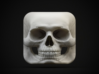 Skull iOS Icon 3d skull render zbrush cinema4d ios icon iphone ipad apps