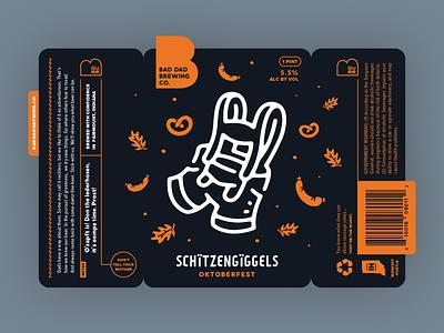 Schitzengiggels Oktoberfest Label pretzel sausage lederhosen can branding polka german oktoberfest label beer