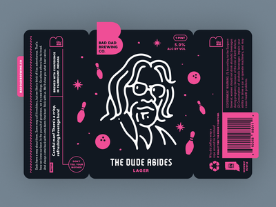 The Dude Abides dude can lebowski branding label beer