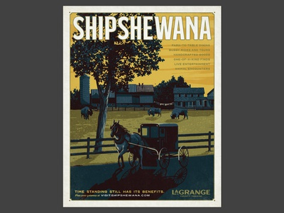 Unused LaGrange County, IN Advertising Campaign poster design illustration farm amish buggy horse