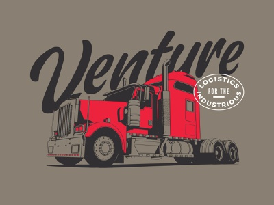 Venture logistics tshirt illustration logistics trucking semitruck truck