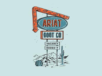 Desert Motel Sign 1 cactus cowboy boots western hotel