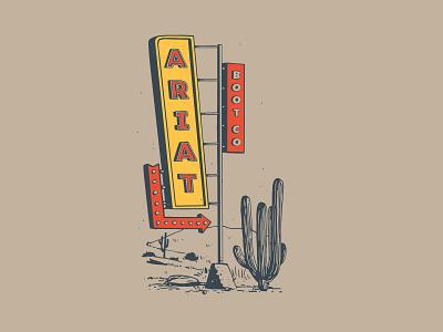 Desert Motel Sign 2 western cactus cowboy motel desert
