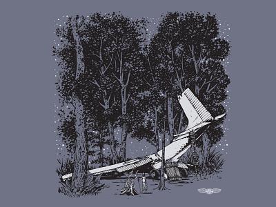 Flew the Coop survival crash plane illustration