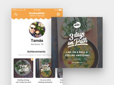 Ate - Profile & Achievements gamification profile ate app ios