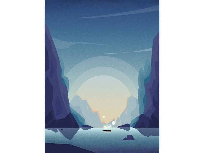 Between mountains and waters blue boat water mountian ui illustration