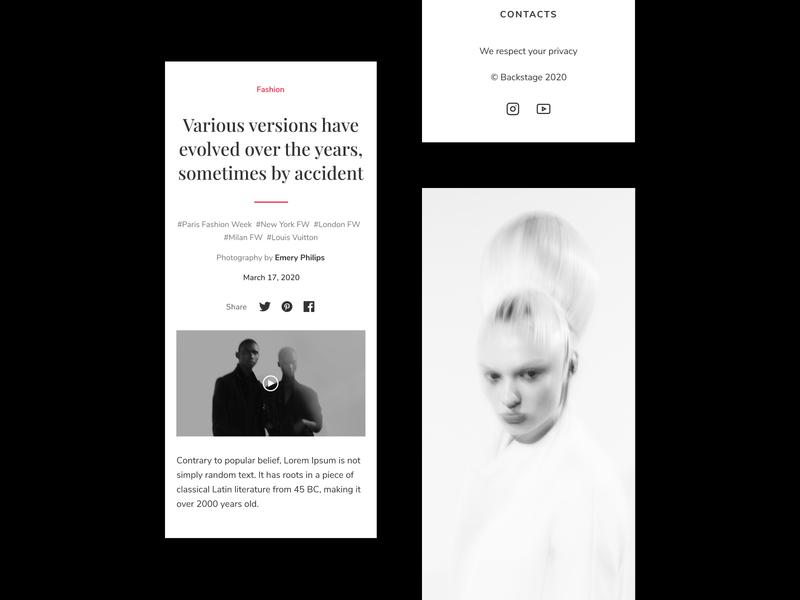 Backstage — Mobile Adaptation app online magazine fashion brand fashion ecommerce design culture art logo branding mobile web ui ux