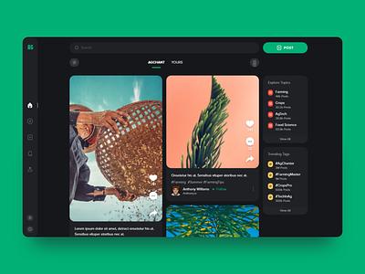 Agchant - Social Media - Web - UI/UX ux ui modern search tabs menu sidebar feed agriculture web web design desktop desktop app social social media