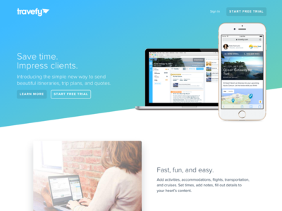 Travefy Professional Landing Page