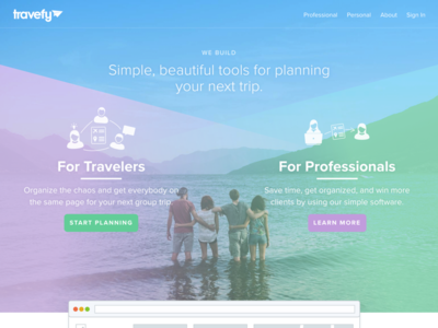 New Travefy.com travel app page product page landing page marketing