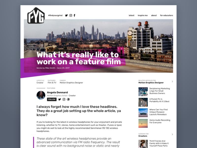 Find Your Grind Article article design article