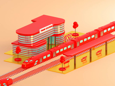 Royal Mail Train Station box adobe after affects advertising redshift octane dribbble 3danimation motion design mail train cinema4d 3d animation