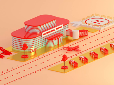 Royal Mail Airport redshift octane delivery advertising 3d dribbble airport plane mail motion design cinema 4d animation