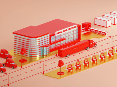 Royal Mail Warehouse cinema4d goods post parking car delivery mail store warehouse truck animation