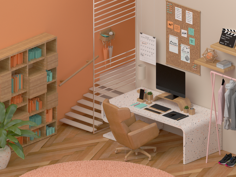Cozy Design Studio monitor mouse keyboard home workshop workspace designer design interior architecture isometric chair studio office house flat room iphone imac apple