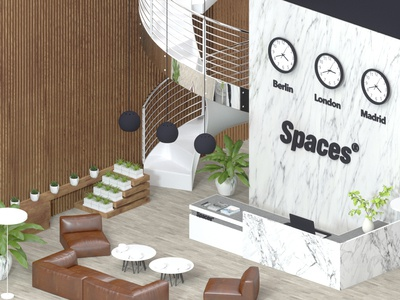Office Center office office space loft reception table plant coffee couch isometric workspace design interior architecture chair room laptop stairs stairway cinema4d clocks