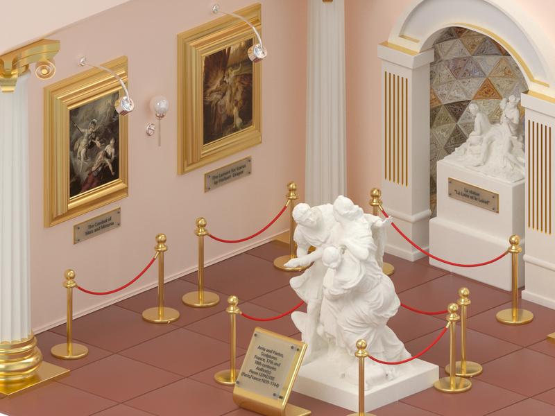 Ancient Museum illustration octane 3d ancient art paintings design architecture cinema4d isometric sculpture monument