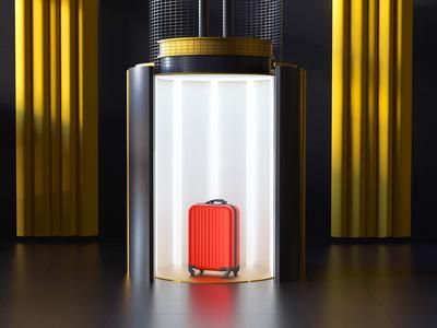 Elevator Scene arhitecture room lift luggage suitcase bag octane cinema4d motion design animation