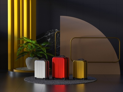 Luggage interior architecture redshift octane cinema4d curtains flower carpet luggage suitcase bag