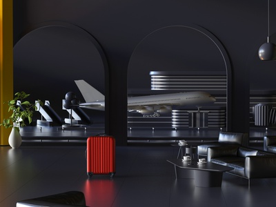Business lounge building flower couch coffee suitcase fly jet plane luggage bag octane cinema4d architecture interior airport